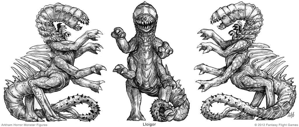 Sketches of the lloigor figure from the Fantasy Flight Games miniature. Scaly, spikes, claws, long fangs… not too much of a stretch for a hodag.