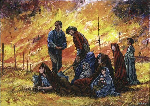 Peshtigo Fire I: Refuge in a Field, by Mel Kishner (1968)